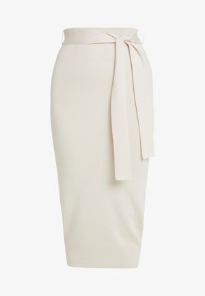 TIE WAIST MIDI SKIRT - Pencil skirt - cream