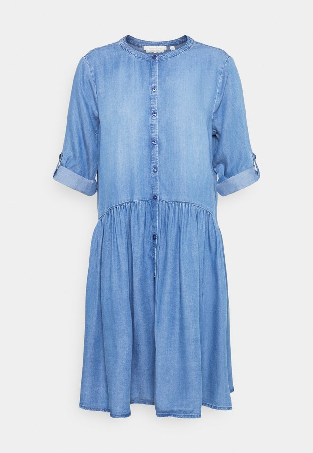 DRESS WITH PLACKET - Farkkumekko - blue denim