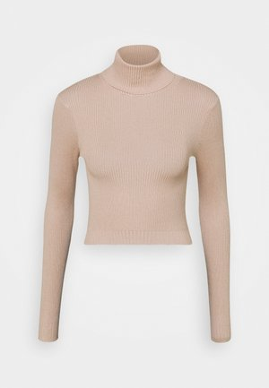 ROLL NECK CROP JUMPER - Jumper - sand