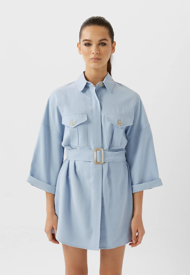 Stradivarius - LANGE LYOCELL - Shirt dress - light blue