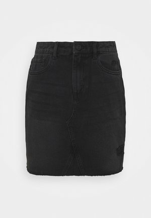 NMFREJA DESTROY SKIRT - Mini skirt - black denim