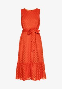 BRODERIE TIERED MIDI DRESS - Day dress - red