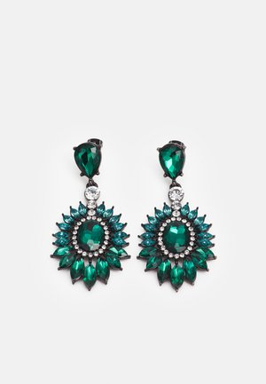 PCLAYAL EARRINGS - Náušnice - dark silver-coloured/green/clear