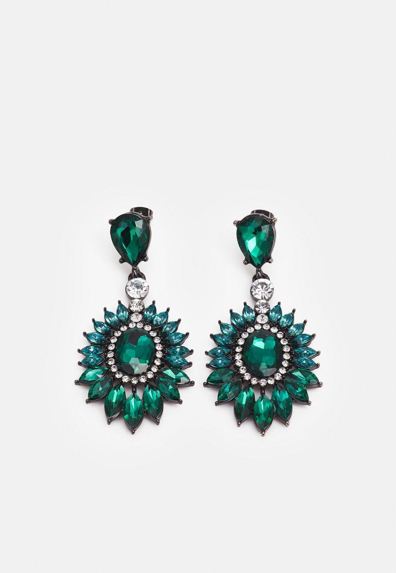 Pieces - PCLAYAL EARRINGS - Earrings - dark silver-coloured/green/clear
