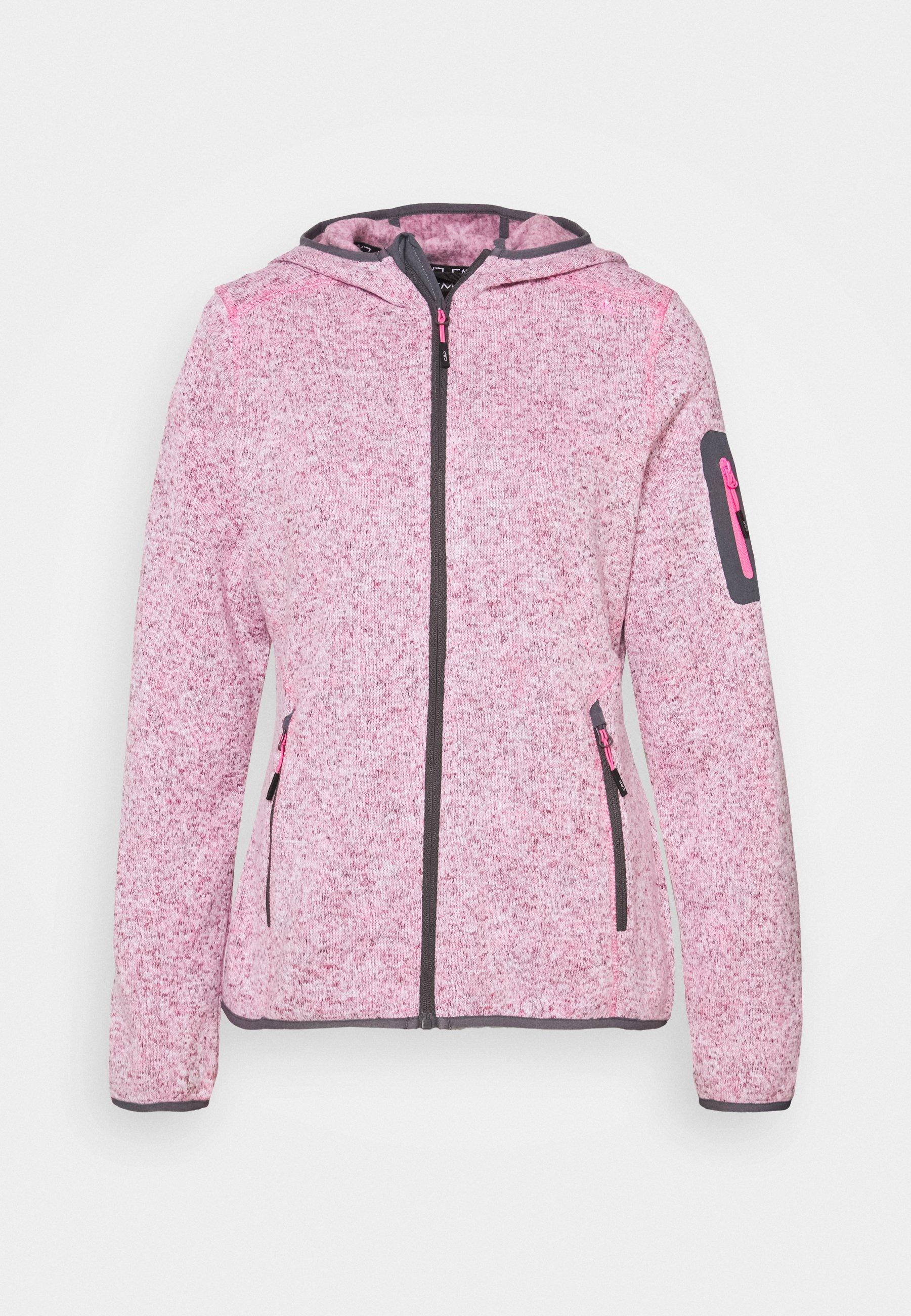 CMP Polaire Veste Girl Jacket Fix Hood Rouge Respirant saumon géométriquement
