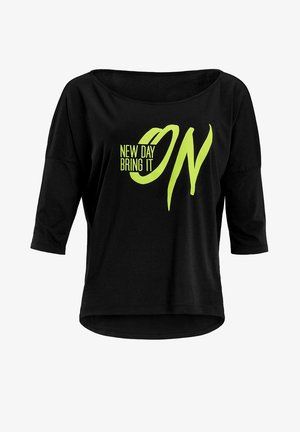 MCS001 ULTRA LIGHT - Long sleeved top - black/glitter/neon yellow