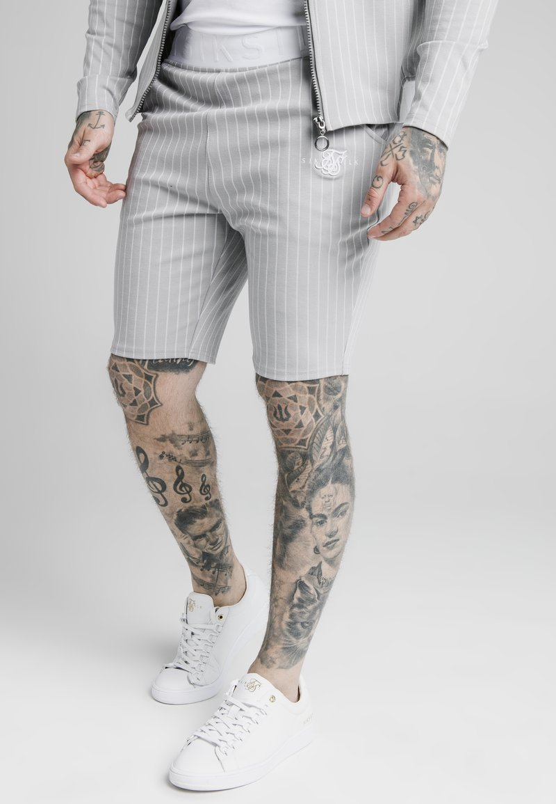 SIKSILK - DUAL STRIPE - Shorts - grey/white