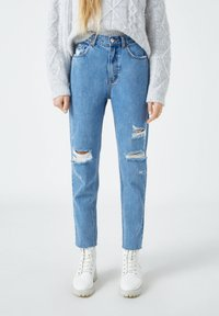 PULL&BEAR - Straight leg jeans - mottled dark blue - 0