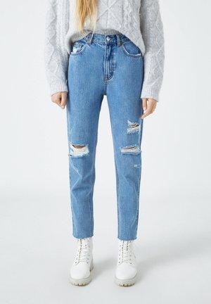 Straight leg jeans - mottled dark blue