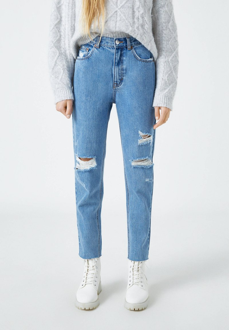 PULL&BEAR - Straight leg jeans - mottled dark blue
