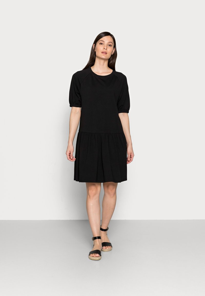 TOM TAILOR DENIM - BALLOON SLEEVE DRESS - Žerzejové šaty - deep black