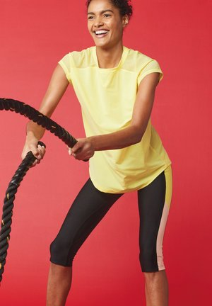 SHORT SLEEVE MESH PANEL - Print T-shirt - yellow