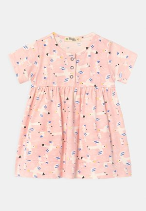 LOLL SHORT SLEEVE WITH POCKETS - Jersey dress - white/pink