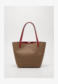 Guess - ALBY TOGGLE TOTE SET - Tote bag - brown/cherry