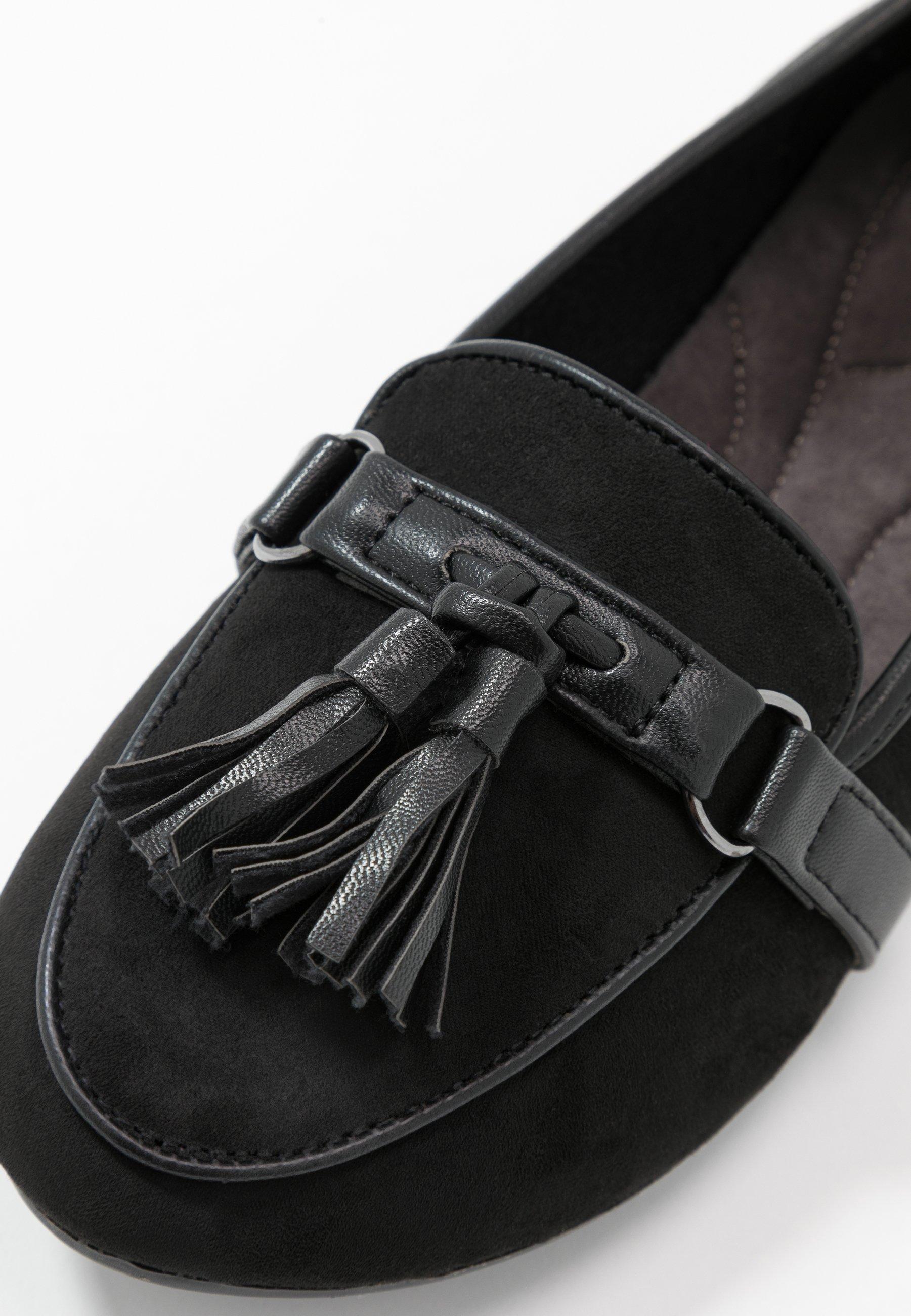 Evans WIDE FIT RANNIE SNAFFLE LOAFER - Slipper - black  Halbschuhe für Damen WnpeP