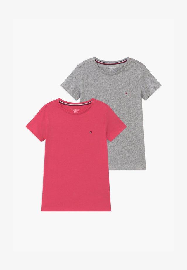 TEE 2 PACK  - Podkoszulki - pink/mottled grey