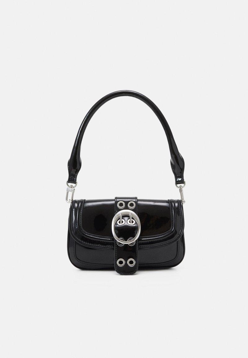 Topshop - PATENT 90S SHOULDER - Handbag - black