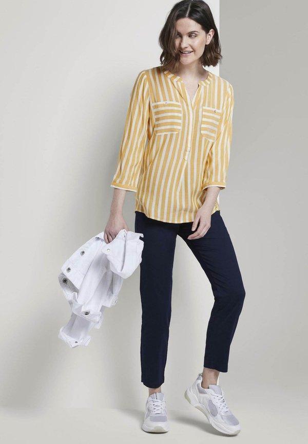TOM TAILOR Bluzka - yellow white vertical stripe/żÓłty BPJS