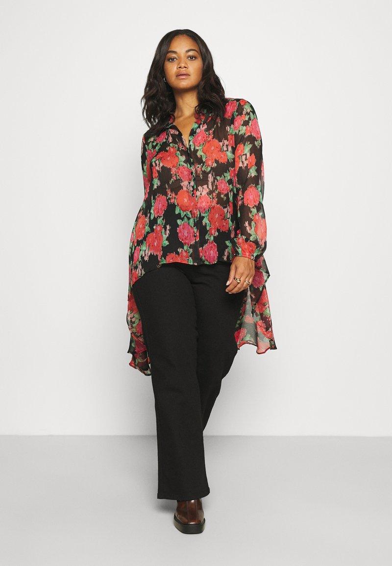 Simply Be - BLURRED FLORAL MAXI SHIRT - Skjorte - black