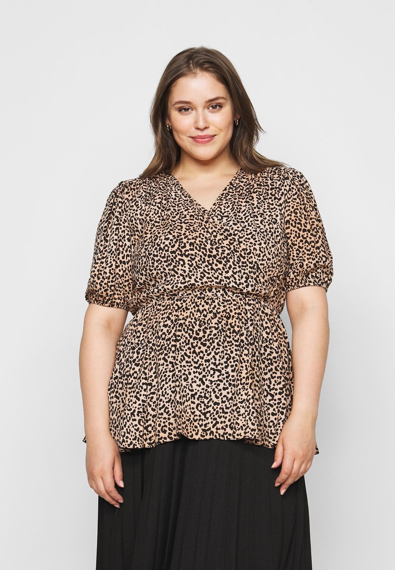 New Look Curves - SAMMIE LEOPARD PUFF SLEEVE - Blouse - pink pattern