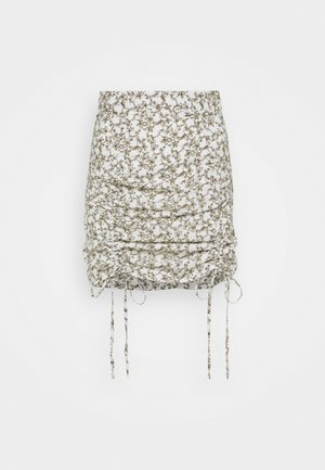 RUCHED MINI SKIRT WITH FRONT TIE DETAILS - Mini skirt - linear floral