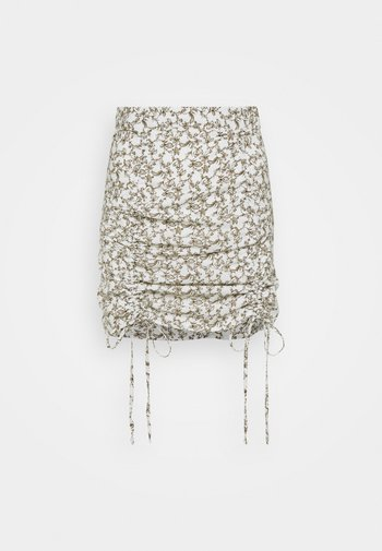 RUCHED MINI SKIRT WITH FRONT TIE DETAILS - Miniskjørt - linear floral