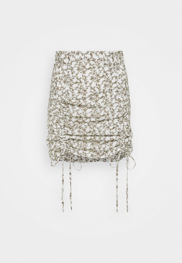 RUCHED MINI SKIRT WITH FRONT TIE DETAILS - Minihame - linear floral