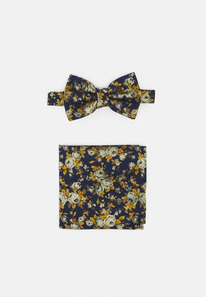 FLORAL BOWTIE AND HANKIE SET - Motýlek - navy