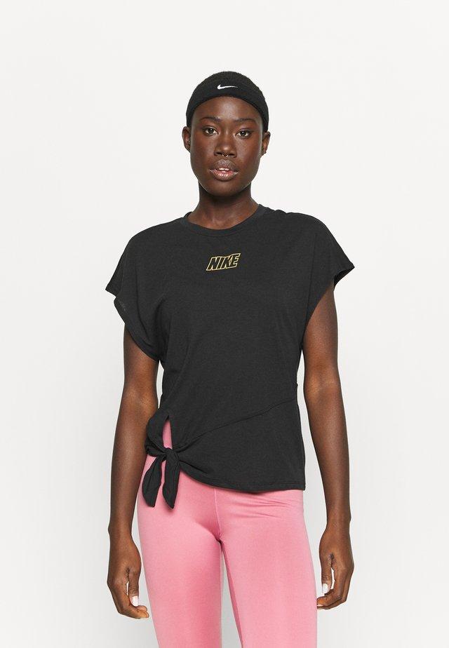 DRY TIE - Camiseta básica - black/metallic gold