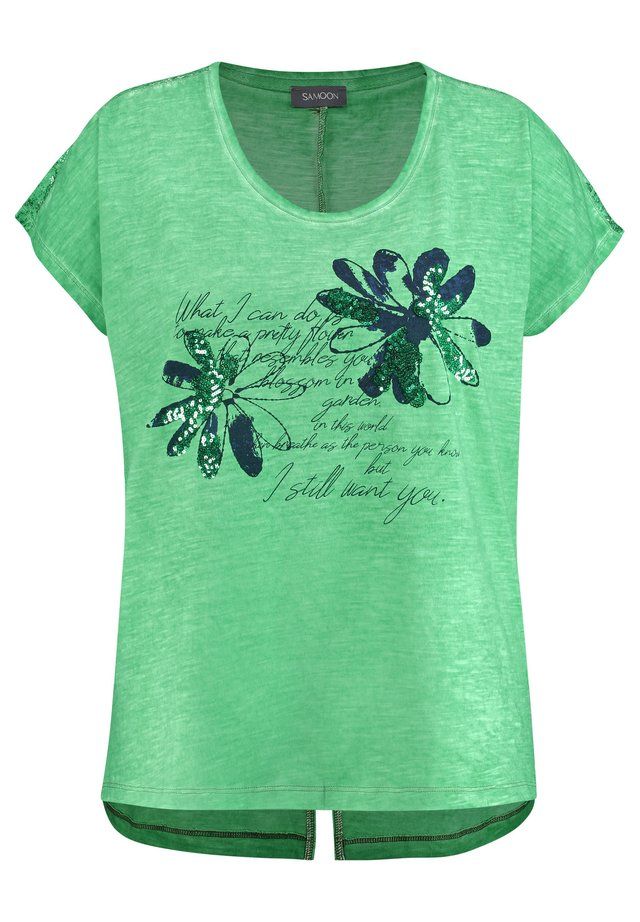 Print T-shirt - jade green gemustert