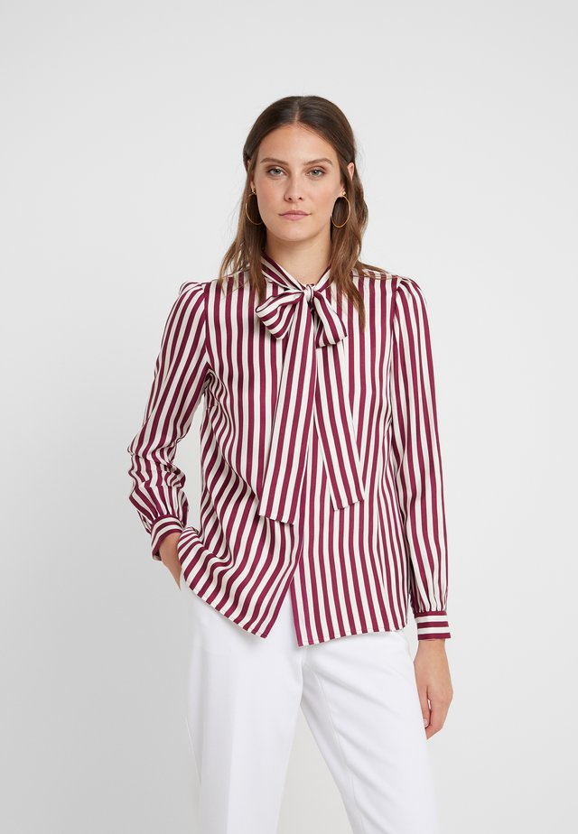 CANDY STRIPE BOW - Bluser - bone/garnet