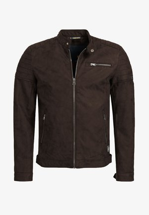 MANUEL - Faux leather jacket - dark brown