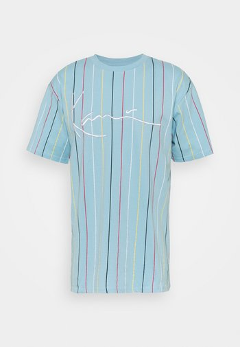 SIGNATURE PINSTRIPE TEE UNISEX - Print T-shirt - light blue
