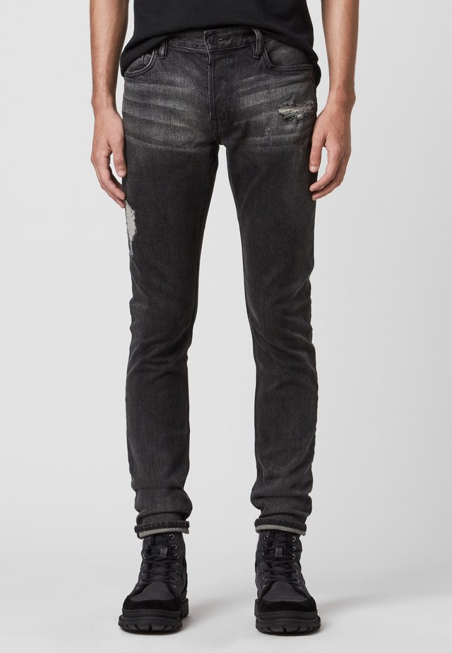 REX DAMAGED - Slim fit jeans - black