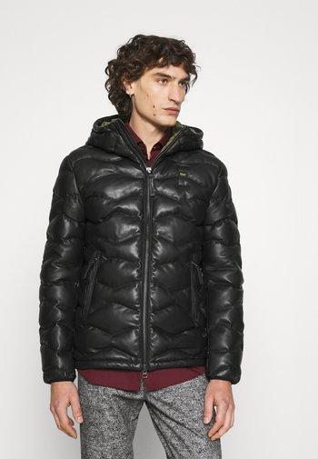 WAVE STICHING - Leather jacket - black