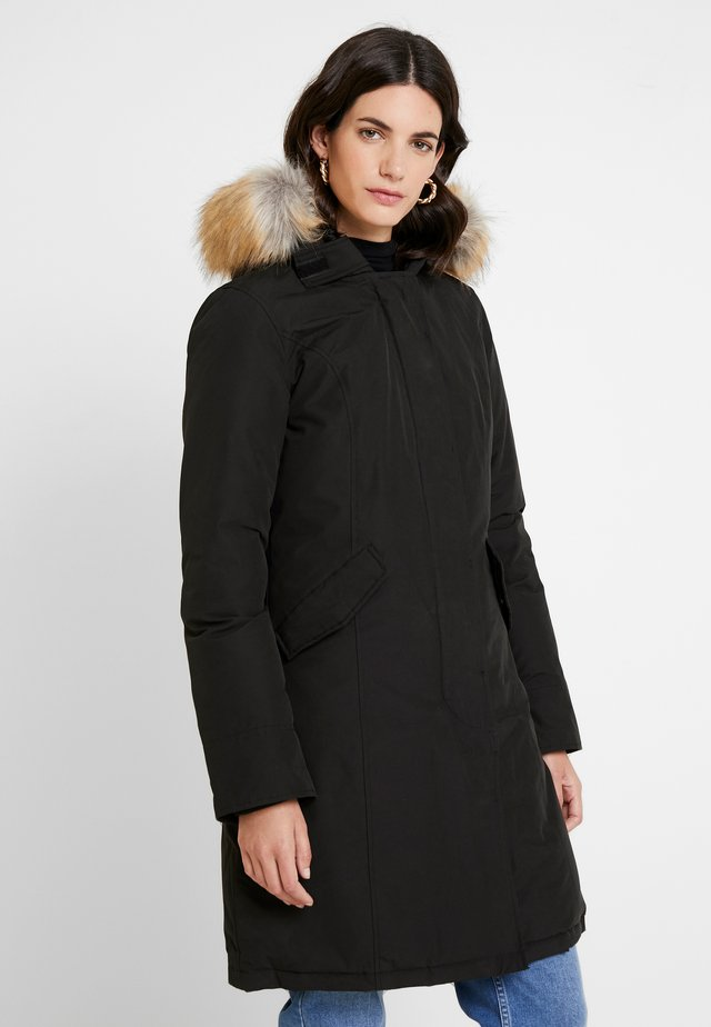 FUNDY BAY LONG FAKE FUR - Down coat - black