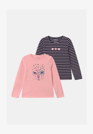 GIRLS LONGSLEEVE 2 PACK - Long sleeved top - light pink/dark blue