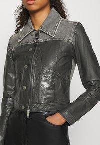 Diesel - LYLE JACKET - Leather jacket - black/grey - 3