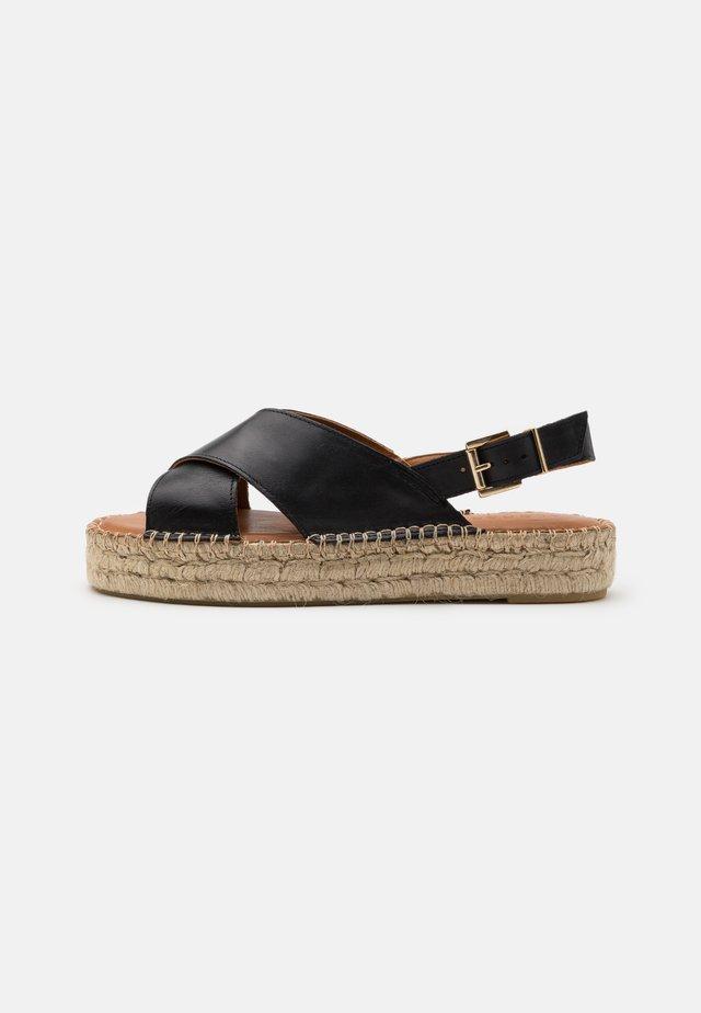 CROSSED - Sandalen met plateauzool - black