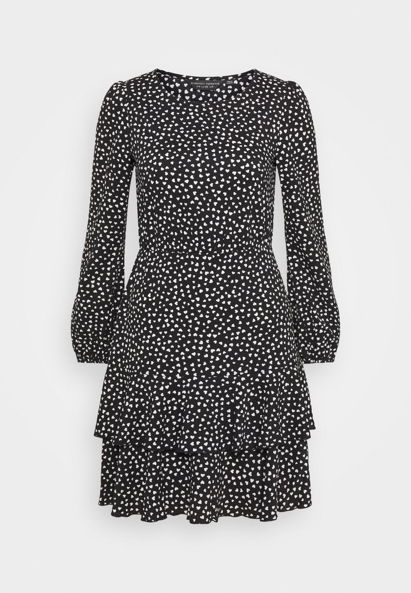 Dorothy Perkins - TIERED HEM MINI HEART  - Day dress - black