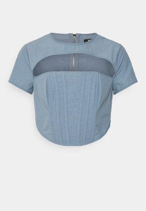 CUT OUT CORSET DETAIL - Camiseta estampada - blue
