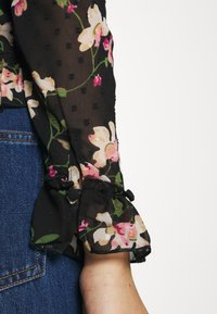 Dorothy Perkins - FLORAL DOBBY TIE NECK - Button-down blouse - black - 5