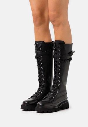 RIO LARGO STIVALE LISCIO - Šněrovací vysoké boty - black