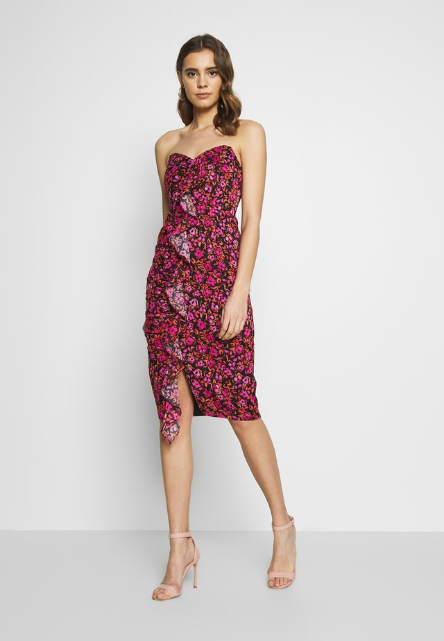 BANDEAU RUFFLE MIDI DRESS - Robe fourreau - multi-coloured