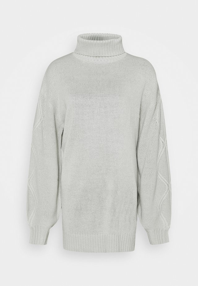 ROLL NECK CABLE SLEEVE JUMPER - Svetr - lunar rock