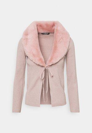 SUZIE TIE FRONT CARDI COLLAR - Cardigan - dusky pink
