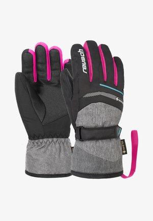Gloves - blck blck melang pink glo