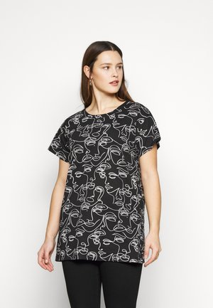 ALL OVER FACE TEE - Print T-shirt - black
