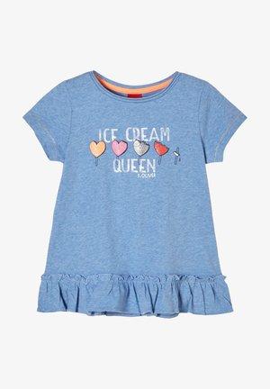 Print T-shirt - light blue melange