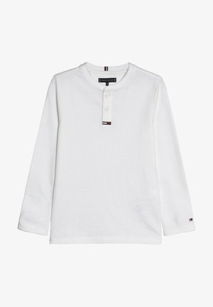 WAFFLE HENLEY TEE - Long sleeved top - white